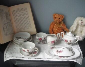 Vintage Rose Motif children's tea set