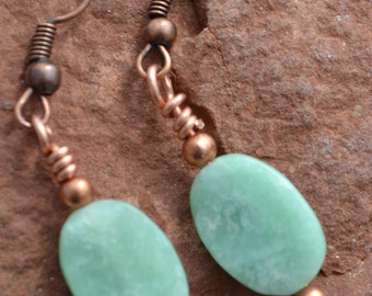 Amazonite and Copper Earrings