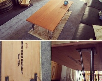 Rustic low level coffee table with hairpin legs
