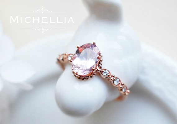 Rose Gold Morganite Engagement Ring, Art Deco Vintage Morganite Ring