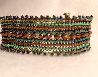 Herringbone stitch beaded bracelet