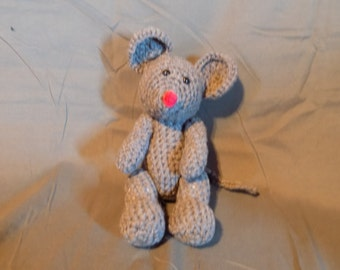 Grey crochet amigurumi style mouse with movable arms and legs