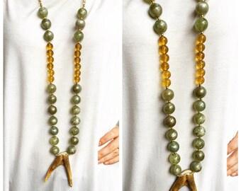 Deer Antler Beaded Necklace