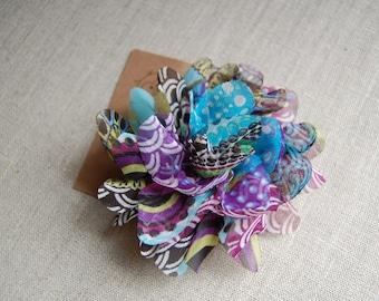 printed chiffon flower hair clip