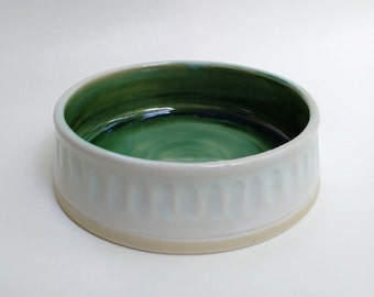 Green and White Pet Bowl
