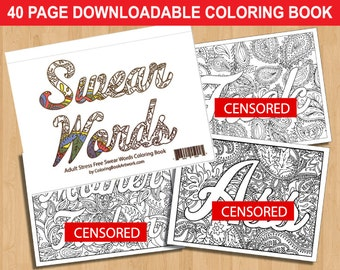 Sweary Curse Word Coloring Book 40 Page DOWNLOADABLE Adult Coloring Book
