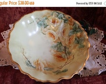 "End Of Summer SALE Antique M.Z. Austrian Hand Painted 9.5"" Serving Bowl - Handled, Yellow Roses"