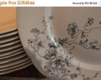 "End Of Summer SALE Set of 12 Antique Bishop & Stonier 10"" Plates - Boston Pattern, Monochromatic, Semi Imperial Porcelain"