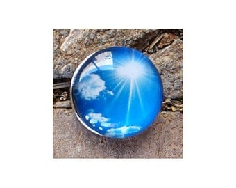 20mm Interchangeable Snap Charm, Blue Sky Sunshine, Snap Into Any Accessory, Rhodium Plated, 4 Available