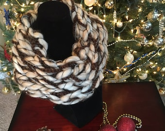 Hand knit chunky infinity, cowl scarf