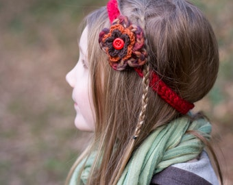 Crochet autumn flower headband
