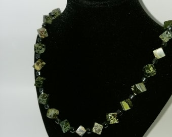 Serpentine Cube and Hematite necklace finished off with sterling silver lobster clasp