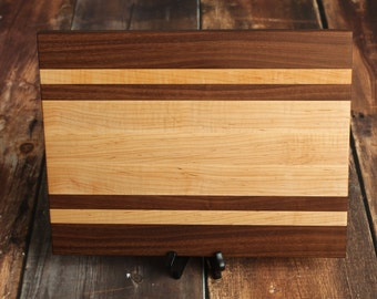 Large Cutting Board - Maple and Walnut Stripe Cutting Board - Wood Serving Tray