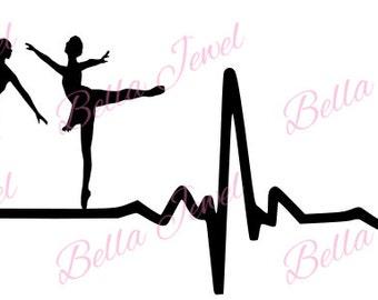 Ballet dancer SVG, ballet svg, dancer svg, heartbeat svg, my heart beats for ballet svg, I love ballet svg, dance svg, svg files for cricut