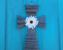 Rustic galvanized tin cross with flower magnet, rustic cross, Easter decor, Rustic Easter decor