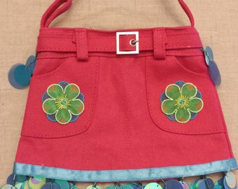 Pink Skirt Purse - Flowers and Dragonflies with Sequin Trim