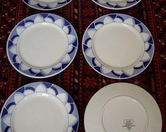 """6 old plates Dessert 20.5 cm - earthenware Digoin Sarreguemines """"AGEN"""""""