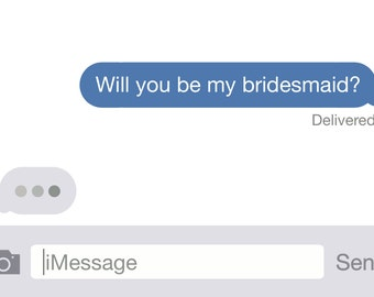 iMessage-Will You Be My Bridesmaid? Postcard 4.25x6in Wedding Invitation