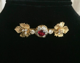 Ruby Red Glass/Bar Pin/Victorian/1800s/Gold Wash/Rhinestones with Maple Leaf Design
