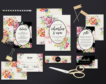 "Printable Wedding Invitation Suite ""Overgrown"" - Printable DIY Invite, Affordable Wedding Invitation"