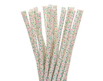 Paper Straws, Rainbow Mini Polkadot Paper Straws, Polka Dot Straws, Rainbow Birthday Party Decor, 1st Birthday Supplies, Easter Paper Straws
