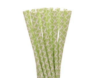 Paper Straws, Lime Green Damask Paper Straws, Spring Garden Party Supplies, Lime Green Bridal Shower Decorations, Tea Party Paper Straws,