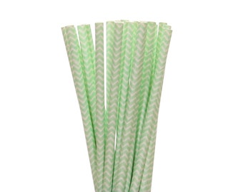 Paper Straws, Mint Green Chevron Paper Straws, 1st Birthday Party Decor, Easter Egg Hunt Supplies, Mint To Be Bridal Shower Paper Straws