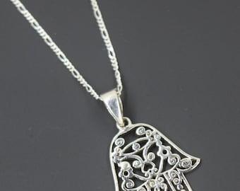 Sterling Silver Fatima Hand/Hamsa Hand Pendant with Chain