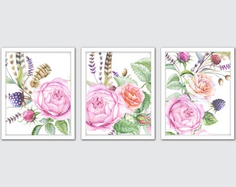 Watercolor Roses, Feathers, Berries Prints, Hand Painted Flowers Art, Floral Watercolor Painting, Floral Prints, Floral Bedroom Decor