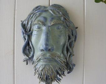 Hand Crafted Stoneware Merlin Garden Head Plaque