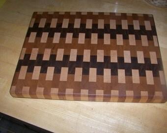 Walnut, Maple, and Cherry Thick Endgrain Cutting Board