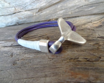 EXPRESS SHIPPING,Unisex Purple Leather Bracelet,Unisex Jewelry,Silver Plated Whale Tail Clasp Bracelet, Cuff Bracelet,Valentine's Gifts