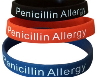 Penicillin Allergy Bracelet Alert Silicone Medical ID Set of 3) Black Red Blue