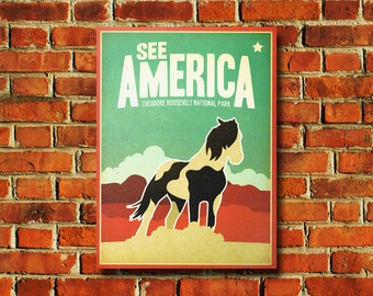 See America Theodore Roosevelt National Park Poster - #0669