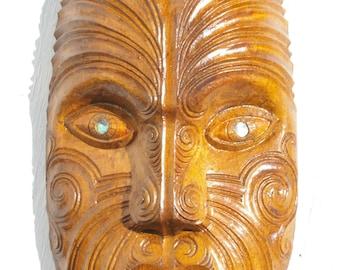 Carved Maori Mask, Moko kanohi, 23.5cm NZ Matai