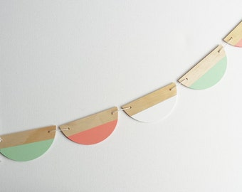 Half circle bunting-mint/guava/white