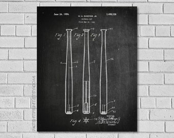 Baseball Bat Patent Print - Baseball Bat Decor - Baseball Wall Art - Baseball Poster - Baseball Decor - Historic Baseball picture - SB128