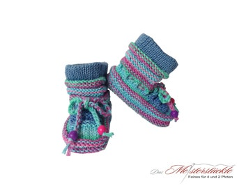 blue baby boots of hand knitted booties