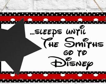 Personalised Disney Countdown Plaque Sign Disneyland Paris Chalk board Christmas Gift Present