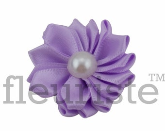 LAVENDER Ribbon Flower With Pearl, Satin flower, Fabric rose, Rolled Rosette, Wholesale Flower, Fabric Flower, Satin Flower, 3pc