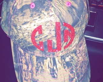 Monogrammed camo camouflage hat