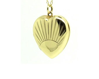 Antique Art Deco Locket (1920-1935)   Yellow Gold Heart Locket   FREE DELIVERY