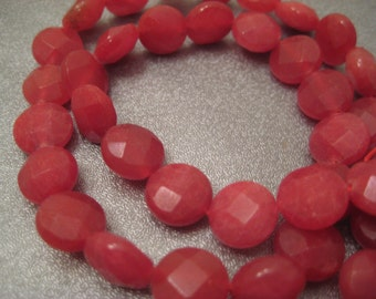 Cranberry Candy Quartz Faceted Coin Beads 40pcs