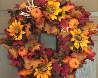 Fall Leaf Wreath Centerpiece with Sunflowers, Pumpkins, Cattails