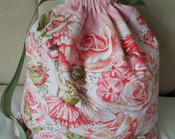 LARGE - Rose Fairy Drawstring project bag