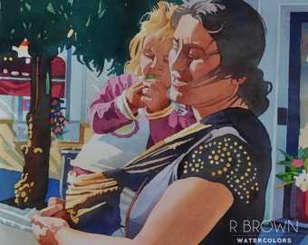 "Gypsy Mother and Child (15""x14"" original watercolor)"