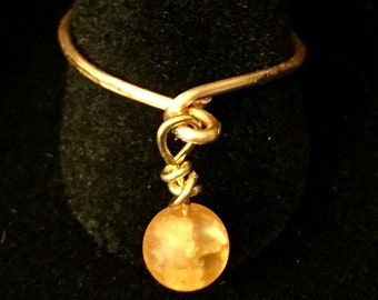 Yellow & Gold Dangle Ring, sizes 8 and 9