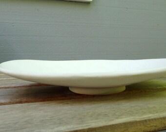 white oblong plate - hand built pottery plate - ceramic