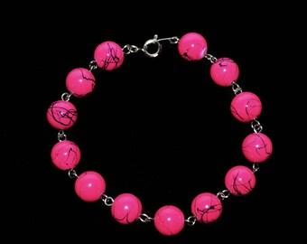 Hot Pink & Black Spiral Bracelet