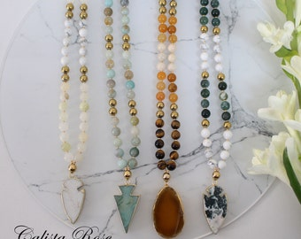 Natural Elements Earthy Beaded Gemstone necklace Tassel Necklace Boho mala necklace Rustic Necklace Nature Inspired Bohemian Jewelry